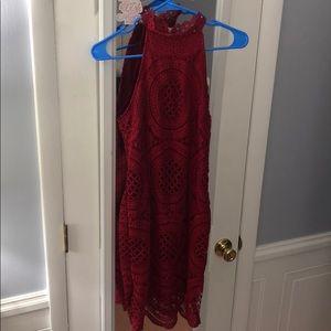 beautiful red lace dress